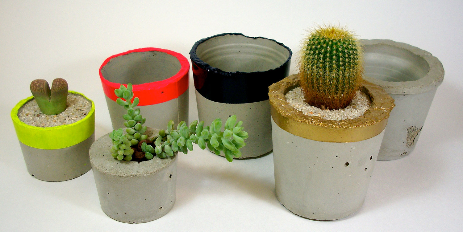 Where To Buy Concrete Planters Part - 32: Concrete Planters By Dachshundinthedesert On Etsy