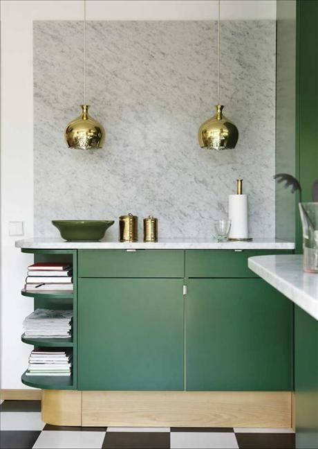 green kitchen gold lamps