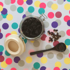 Homemade coffee grounds body scrub