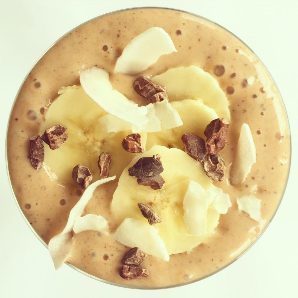 The guilt free coco choco indulgence smoothie by Christine Joos, aka London Yogini