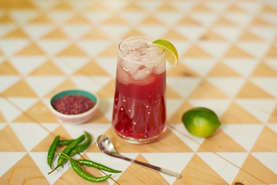 Happy Hour hibiscus sake chilli cocktail Jamaican Sorrel